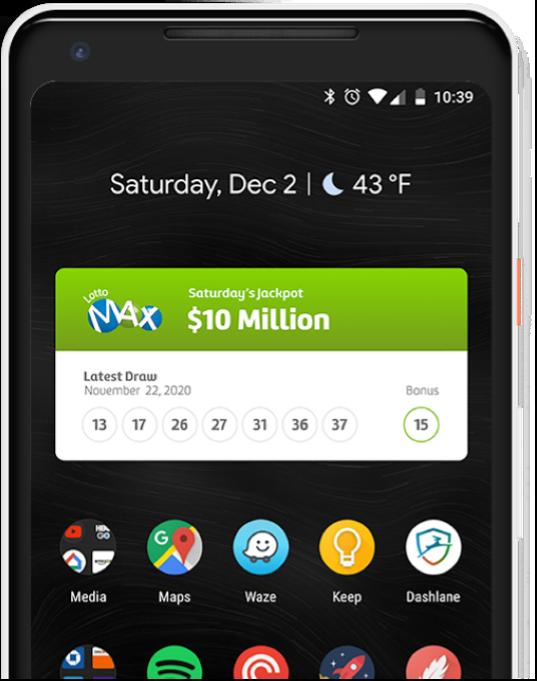 Android Lottery Image of medium sized widget